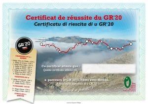 diplome réussite GR20 randonnée corse